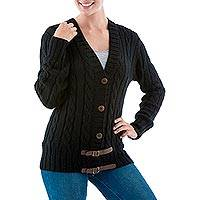 Alpaca blend cardigan, 'Buckles on Black' - Black Alpaca Blend Cardigan Sweater with Leather Trim