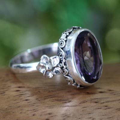 Amethyst solitaire ring, 'Frangipani Allure' - Handcrafted Floral Sterling Silver and Amethyst Ring