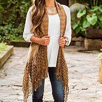 Cotton rebozo vest, 'Earthen Vibes' - Rebozo Style Vest Shawl Woven by Hand with Natural Colors