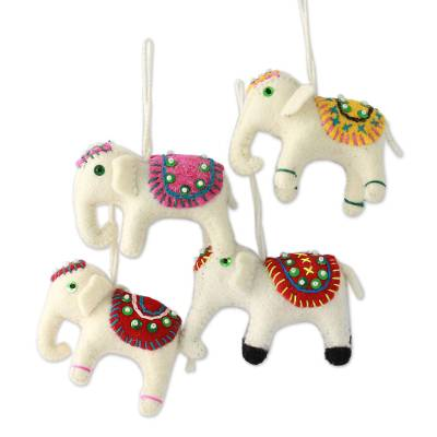 Wool ornaments, 'White Elephants' (set of 4) - Four Fair Trade White Elephant Ornaments Set