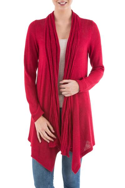 Long Sleeved Red Cardigan Sweater from Peru - Red Waterfall Dream ...
