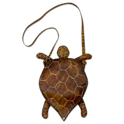 Novica Leather shoulder bag, Amazon Turtle - Hand Crafted Leather Shoulder Bag from Brazil