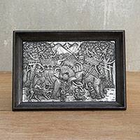 Aluminum repousse panel, 'Duel of Elephants' - Aluminum repousse panel