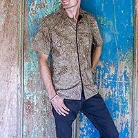 Men's cotton shirt, 'Sweet Basil' - Men's 100% Cotton Shirt Handstamped on Khaki Batik Fabric