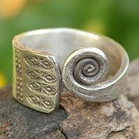 Sterling silver wrap ring, 'Thai Sunbeams' - Hill Tribe Sterling Silver Wrap Ring