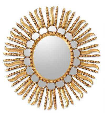 Mirror, 'Winter Sun' - Starburst Bronze Leaf Mirror from Peru
