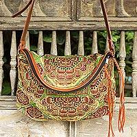 Leather accent cotton shoulder bag, 'Green Hmong Blossom' - Cross Stitch Embroidered Green and Brown Shoulder Bag