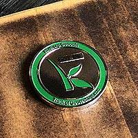 Trackable geocaching collectible coin, 'Kiva Geocoin' - Trackable Geocaching Collectible Kiva Coin