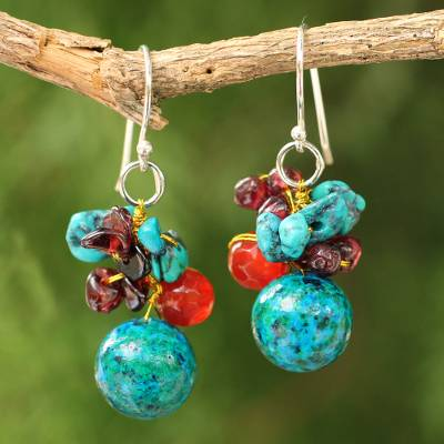 Garnet and carnelian beaded dangle earrings, 'Tropical Oasis' - Garnet and carnelian cluster earrings
