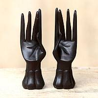Wood ring holders, 'Graceful Dancer in Black' (pair) - Wood ring holders (Pair)
