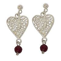 Sterling silver filigree earrings, 'Impassioned Hearts' - Filigree Heart Sterling Silver Earrings with Red Agates