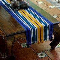 Cotton table runner, 'Blue Atitlan' - Cotton table runner