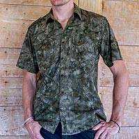 Men's cotton shirt, 'Military Olive' - Men's Olive Green Military Style Short Sleeve Cotton Shirt