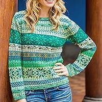 100% alpaca sweater, 'Cozy Forest' - Multicolor Alpaca Sweater in Greens and Blues