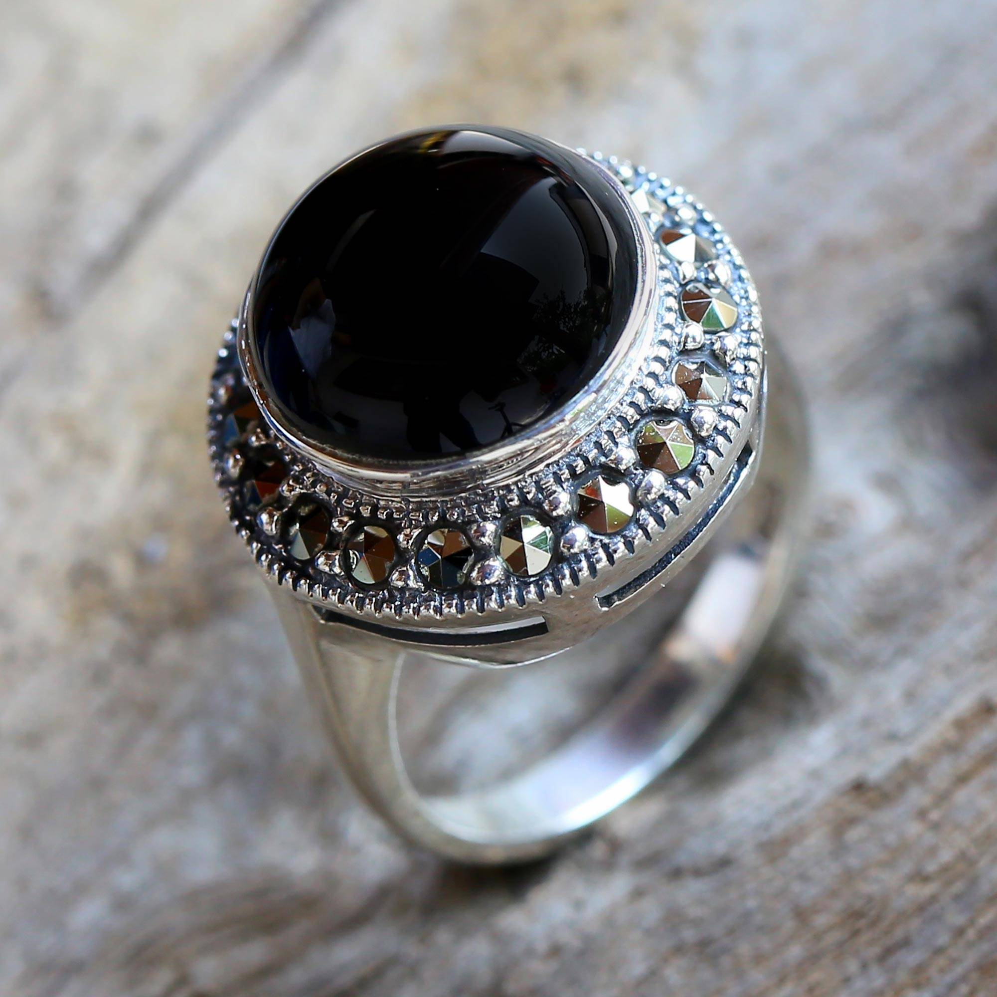stamped black onyx ring ringfine statement solid set objects sold co wedding plaque in jewelry fine product gold beveled rings midwest art d signet