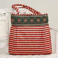 Embellished shoulder bag, 'Crimson Gujarat Legacy' - Fair Trade Embellished Shoulder Bag