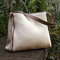 Cotton tote handbag, 'Natural' - Cotton and Leather Accent Beige Tote Bag