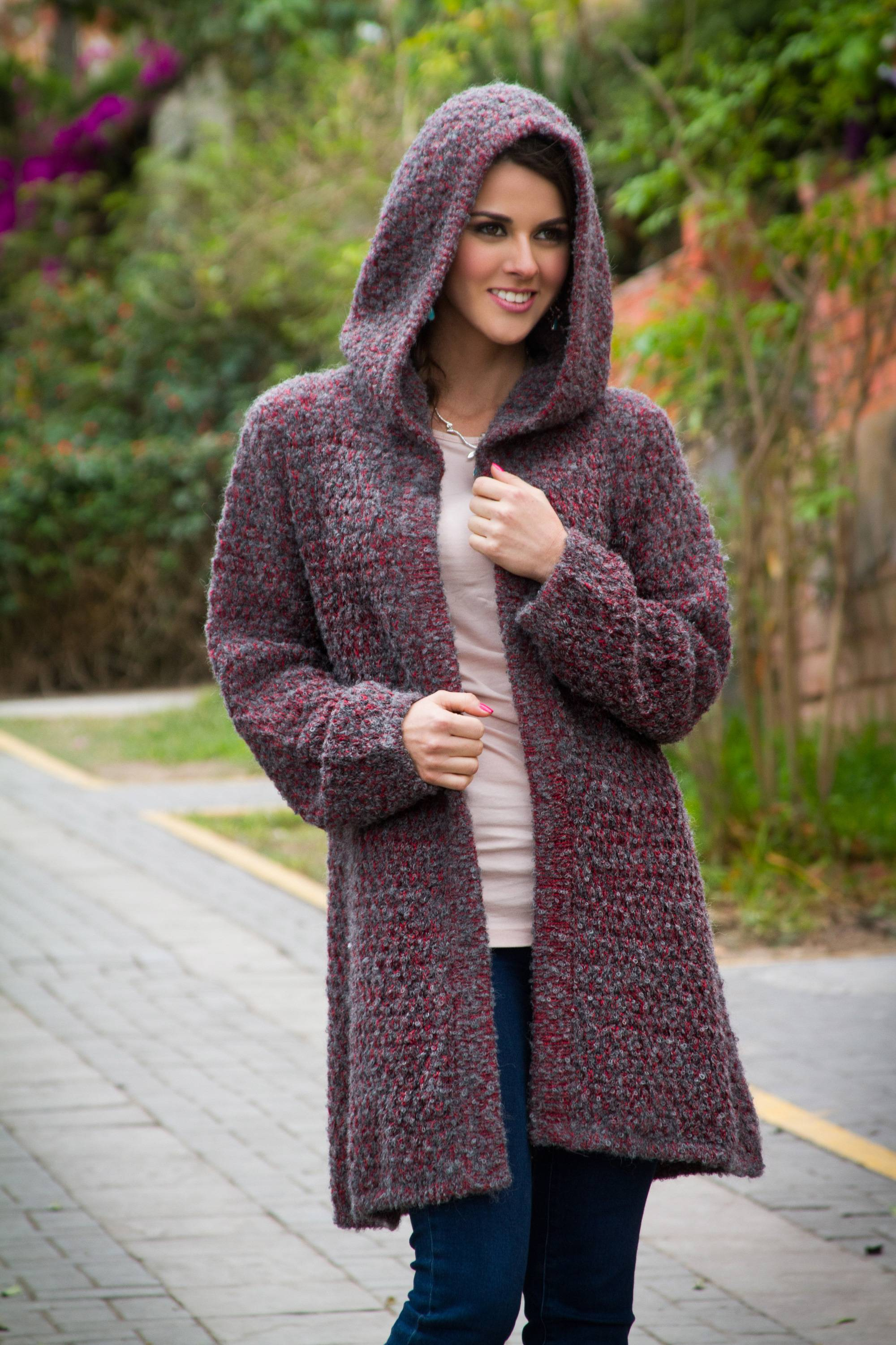 Red and Grey Baby Alpaca Blend Boucle Hooded Sweater Coat - Misty ...