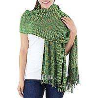 Cotton shawl, 'Tropical Forest' - Green Backstrap Loom Woven Cotton Shawl from Guatemala