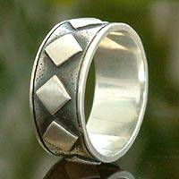 Sterling silver band ring, 'Rhombus Constellation' - Sterling silver band ring