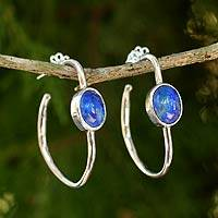 Lapis lazuli half hoop earrings, 'Modern Moonlight' - Modern Silver Half Hoop Earrings with Lapis Lazuli