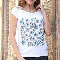 Cotton blend Madhubani t-shirt, 'Underwater Festival' - Hand-Painted Blue Madhubani Fish on White Cotton T-shirt