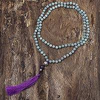 Amazonite and amethyst long prayer bead necklace, 'Spirit Quest' - Artisan Crafted Long Amazonite Prayer Bead Necklace