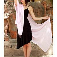 Silk shawl, 'Rose Blush' - Fair Trade Pale Pink 100% Silk Shawl Wrap India