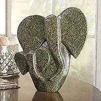 African Soapstone Sculpture, 'Shona Elephant' - African Shona Elephant Sculpture