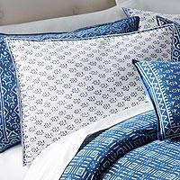 Cotton pillow sham, 'Rajasthani Meadow' - White Floral Standard Sham