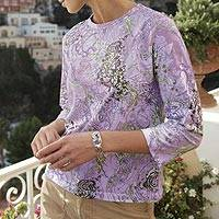 Cotton blend top, 'Lavender Mehndi' - Indian Lavender Henna Shirt