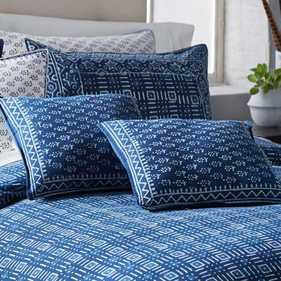 Cotton accent pillow, 'Rajasthani Indigo' - 16 Inch Accent Pillow with Insert