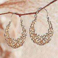 24K gold vermeil hoop earrings, 'Egyptian Arabesque'  - Egyptian Arabesque Gold Earrings