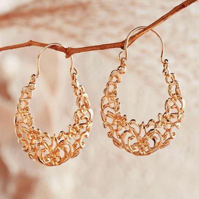 24k Gold Vermeil Hoop Earrings Egyptian Arabesque