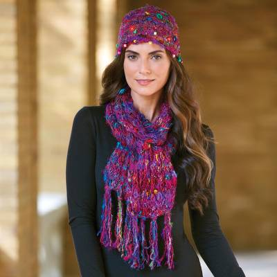 Silk sari knit hat and scarf set, 'Exotic Kathmandu' - Silk Sari Knit Hat and Scarf Set