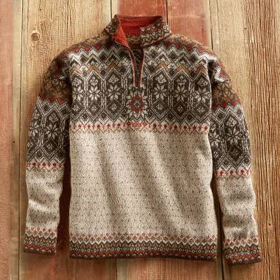 Men's 100% alpaca sweater, 'Tarabuco Market' - Men's Grecas Alpaca Sweater