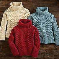 Wool turtleneck sweater, 'North Winds' - Women's Irish Aran Turtleneck Sweater
