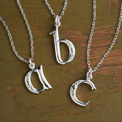 Sterling silver pendant necklace, 'Book of Kells' - Book of Kells Initial Necklace