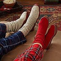 Unisex wool blend slipper socks, Toasty Travels