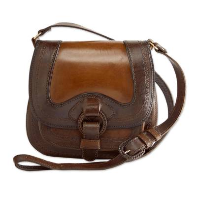 Leather Shoulder Bag Journey To La Paz Bolivian Tooled