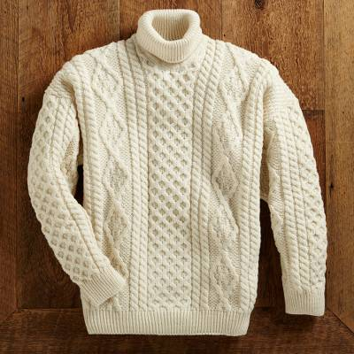 Men's wool turtleneck sweater, 'Galway Bay' - Men's Aran Turtleneck Sweater