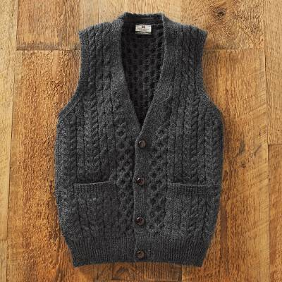 Men's wool sweater vest, 'Road to Donegal' - Men's Irish Sweater Vest
