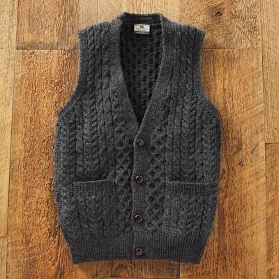 Mens Irish Sweater Vest Road To Donegal Novica