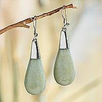 Jade dangle earrings, 'Mayan Legacy' - Guatemalan Jade and Sterling Silver Earrings