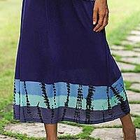 Knit viscose maxi skirt, 'Black Bandhani' - Black Bandhani Skirt
