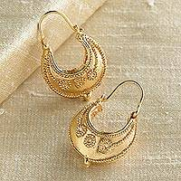 Gold vermeil hoop earrings, 'Etruscan Tribute' - Etruscan Hoop Gold Vermeil Earrings