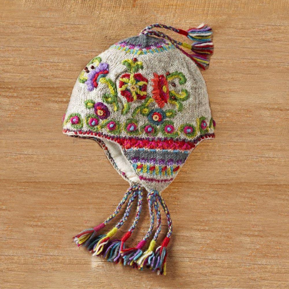 7cd505ed8 Kamala Earflap Hat, 'Kamala Flowers'