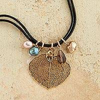 Gold plated pendant necklace, 'Aspen Leaf' - Aspen Leaf Necklace