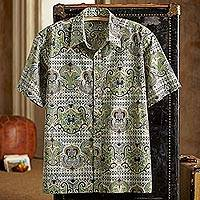 Men's cotton shirt, 'Shekhawati Palace' - Shekhawati Cotton Shirt, Short Sleeves