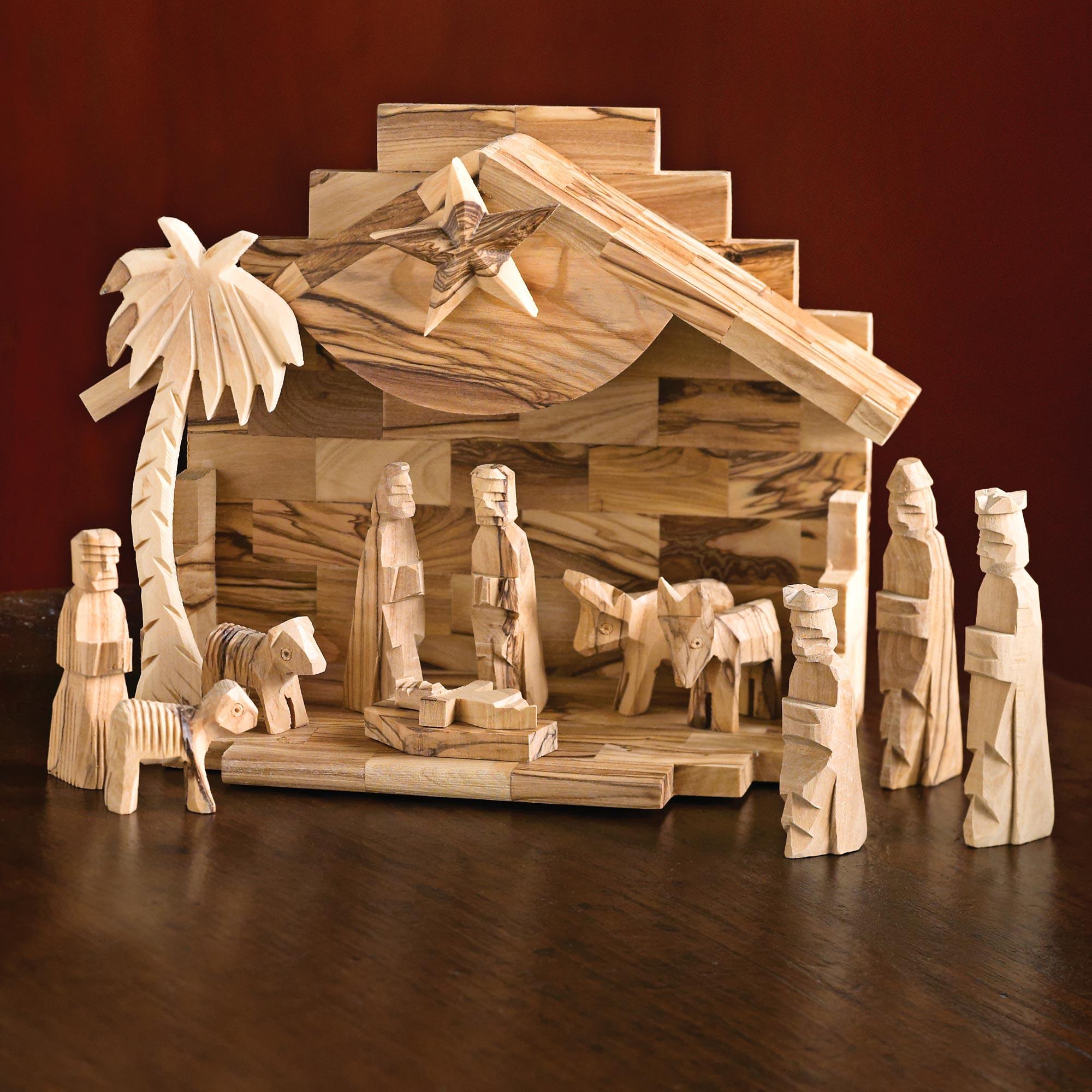 Holy Land Olive Wood Nativity Set (12 Pieces) - Holy Land | NOVICA